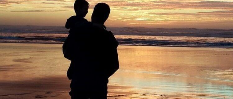 Vaterherz Papa mit Sohn